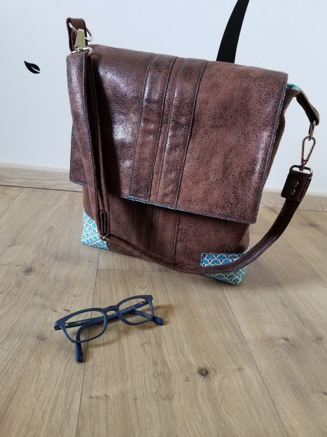 Besace Alex choco/turquoise