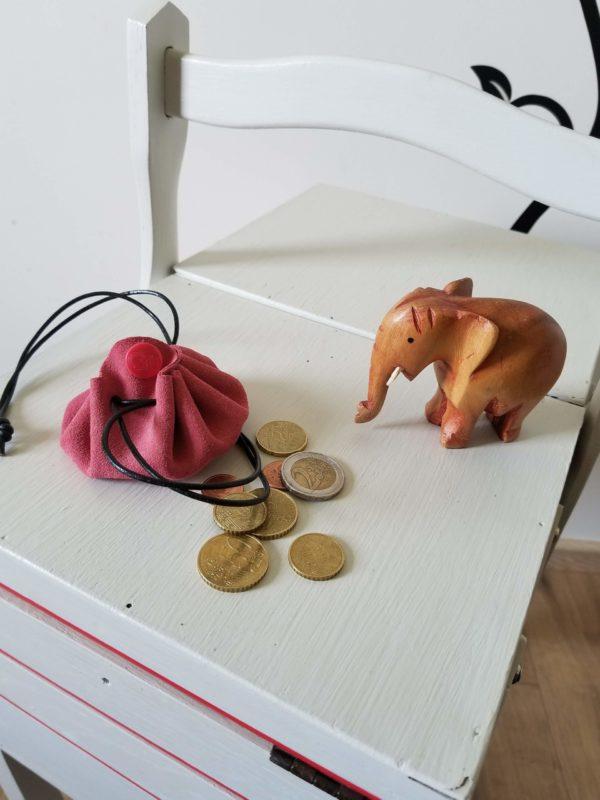 Petite bourse cuir rose