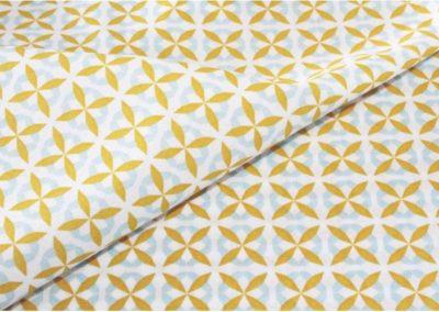 tissu coton géométrique celadon/moutarde