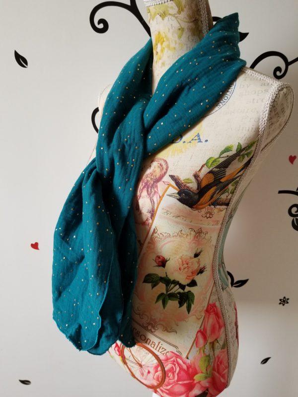 foulard bleu canard à points