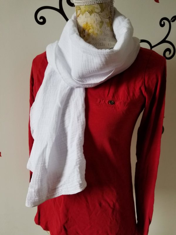 foulard double gaze de coton blanc uni